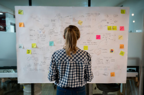woman-from-agency-creating-an-idea-board-for-clients