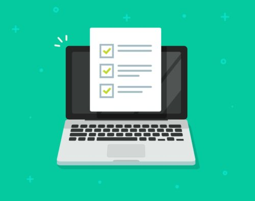 Check list document on laptop vector, flat cartoon computer with paper check list and to do list with checkboxes, concept of survey, online quiz, completed things or done test, feedback