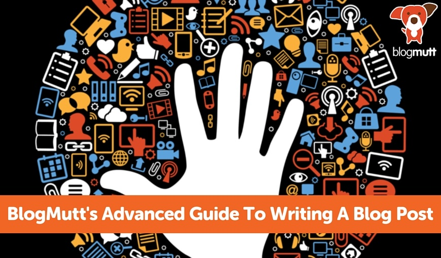 BlogMutts-Advanced-Guide-To-Writing-Blog-Post-hand-in-a-jumble-of-technology