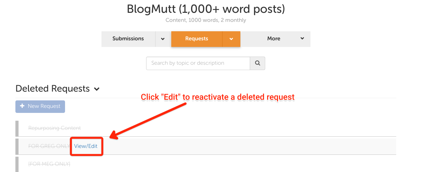 Screen Shot of edit request button