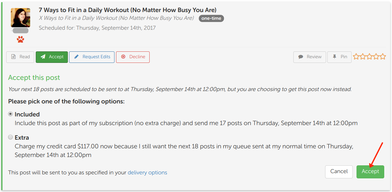 Screen Shot of BlogMutt Accept Scheduled Post Early Feature