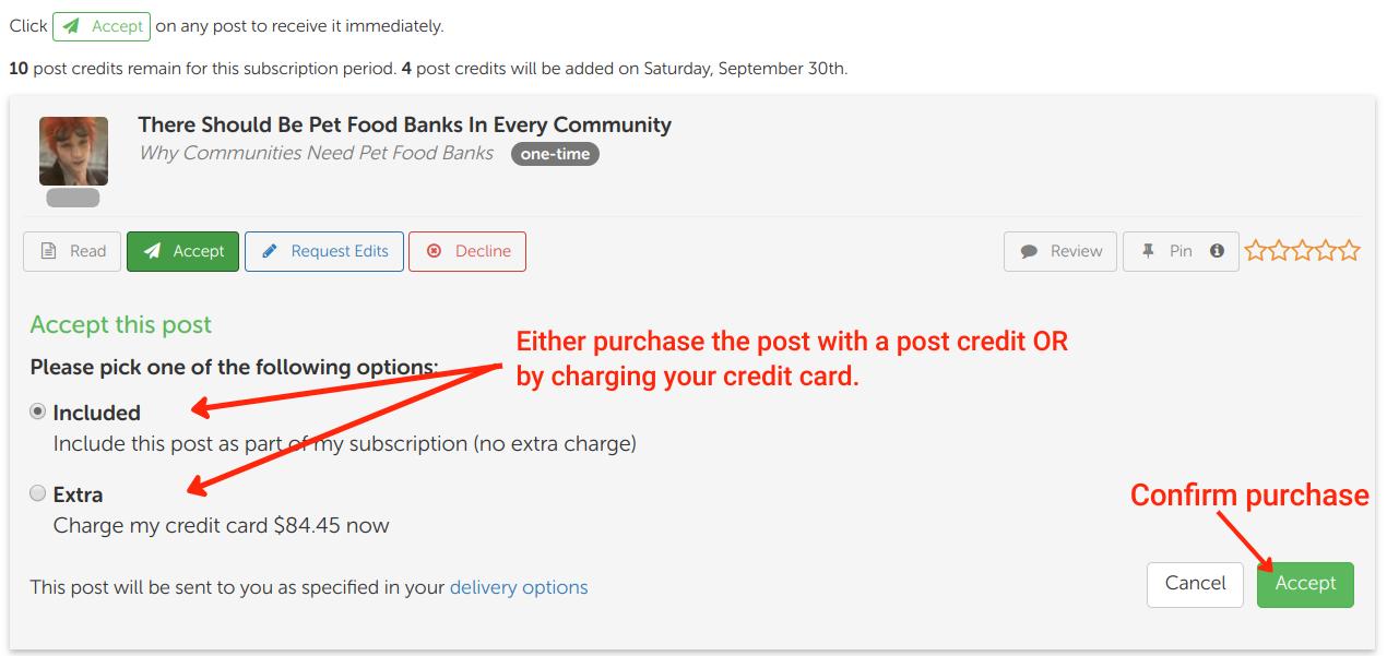 Screen Shot of Blogmutt's Manual Accept Post Feature