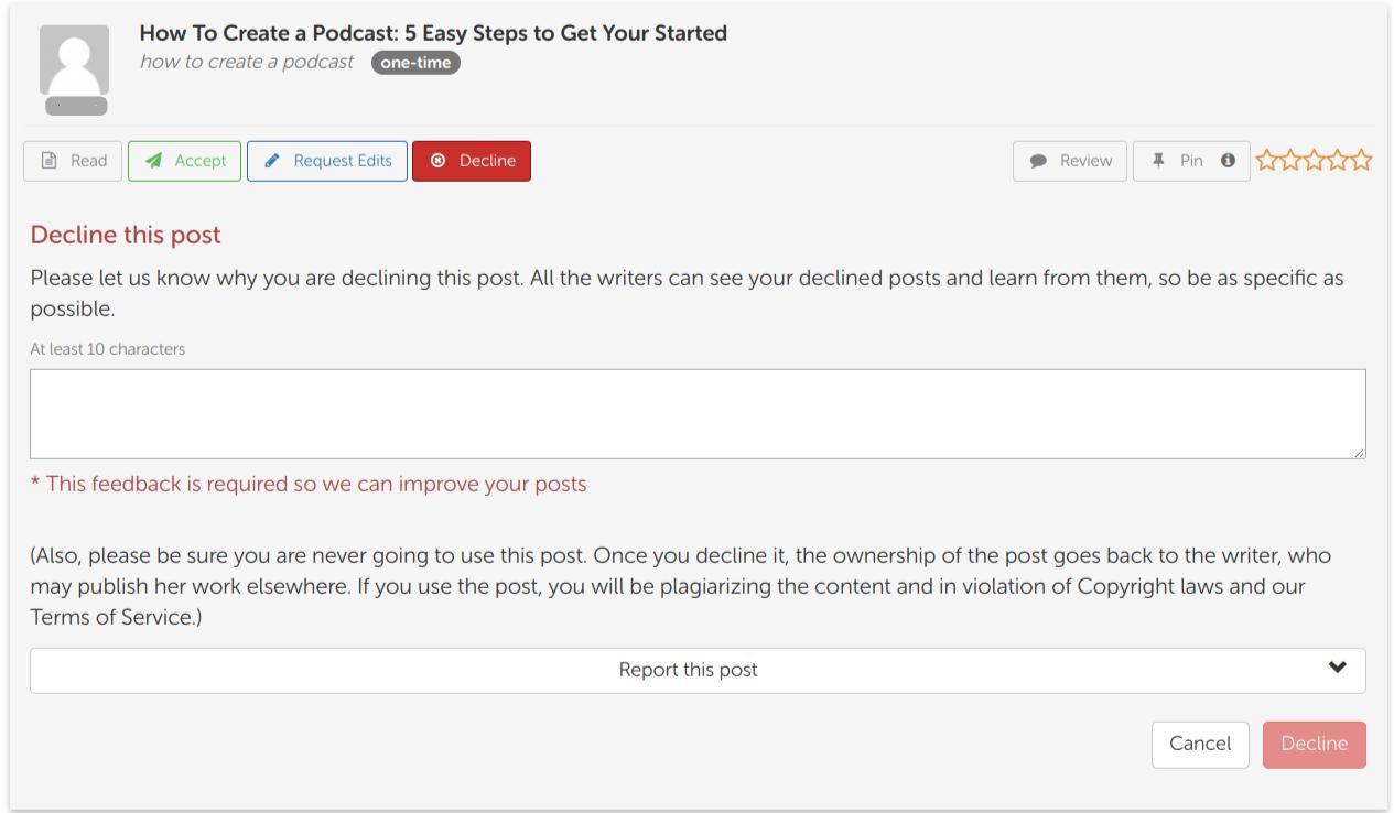 Screen Shot of BlogMutt Declined Post Feature part 2