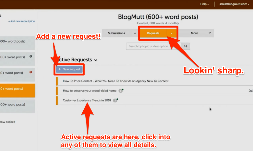 blogmutt product announcement requests page