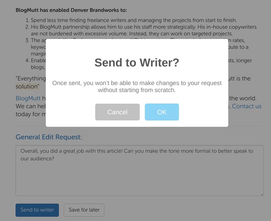 Screenshot of final edit request confirmation button