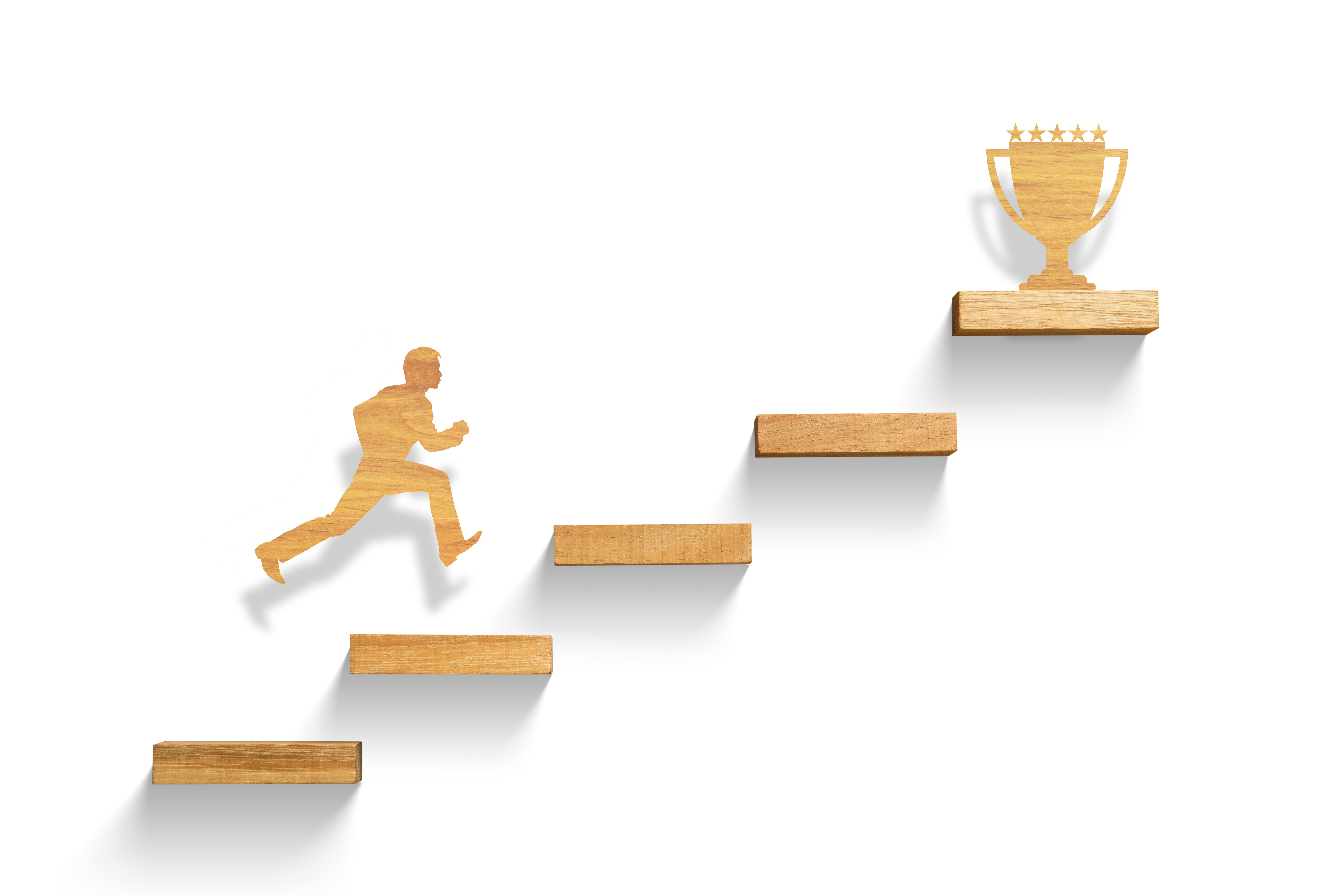 man-running-up-stairs-to-trophy