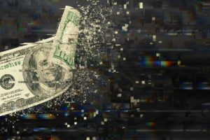 An edited image of a 100 dollar bill (US) disintegrating into a digital landscape