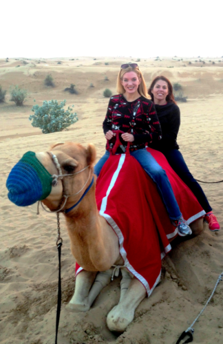 two women on a camel