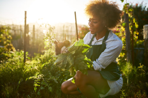 african american woman in community garden