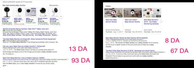 domain authority comparison nest