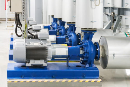 Rotary valves and water pumps in a large power plant