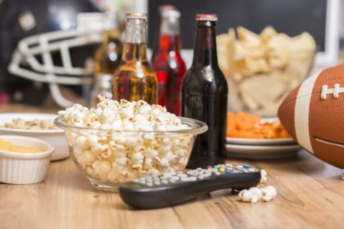 Superbowl halftime show beers and snacks
