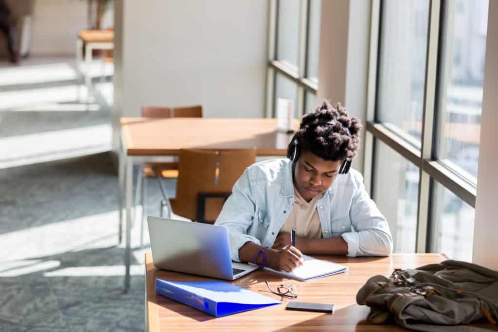 writer working at laptop