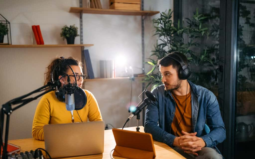 partners in conversation for podcast