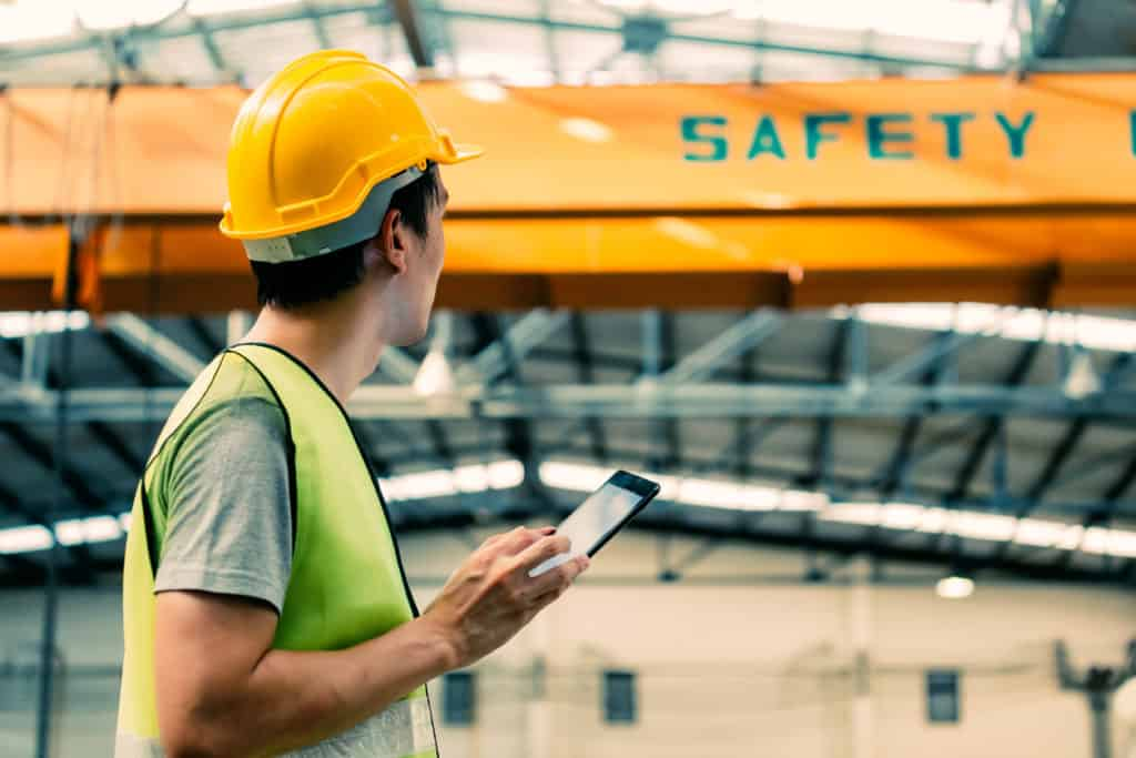 factory worker with hard hat