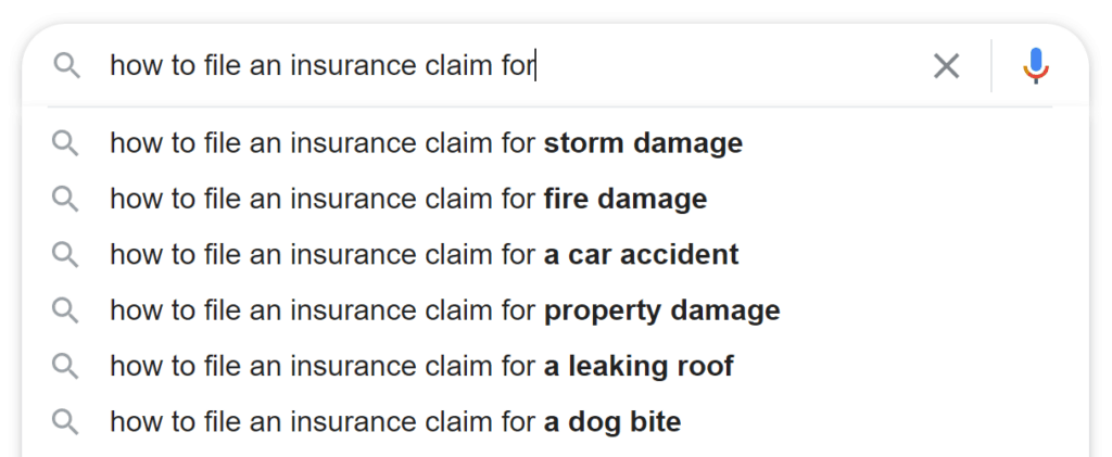 a web search for how to file an insurance claim