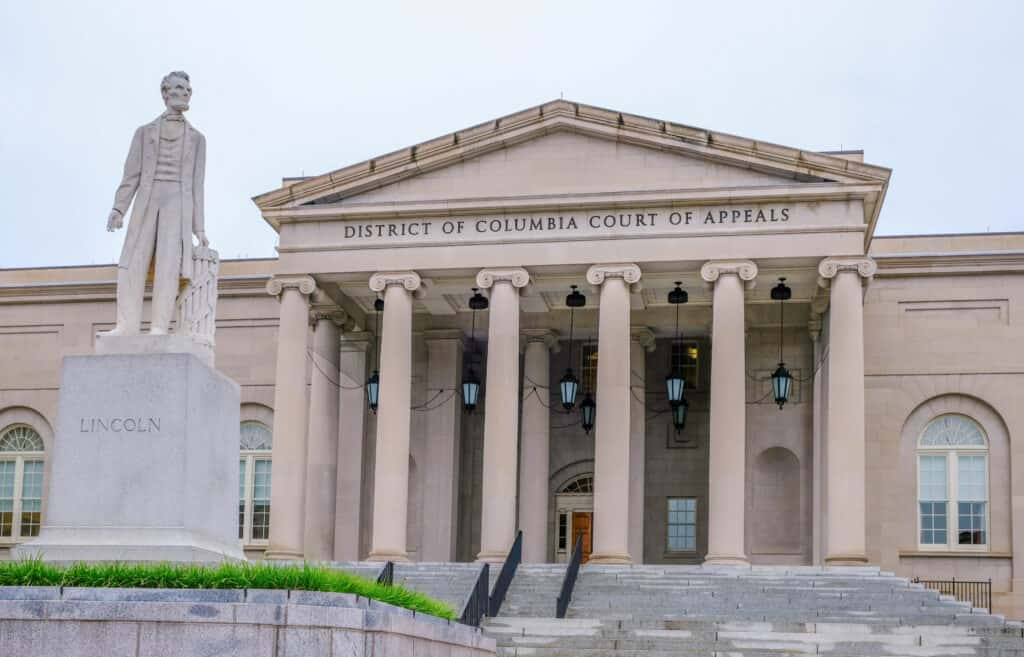 The District of Columbia Court of Appeals building in Washington