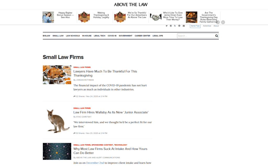 Above the Law legal blog displays posts on a variety of topics