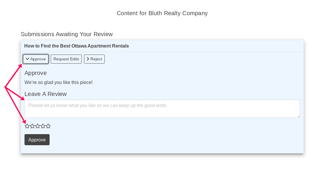 Approve Rate and Review Clients View
